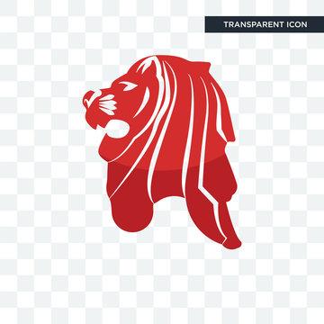 singapore lion vector icon isolated on transparent background, singapore lion logo design