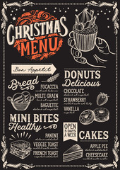 Christmas menu template for bakery and dessert cafe on a blackboard background vector illustration brochure for xmas dinner celebration. Design poster with vintage lettering and holiday graphic.