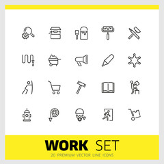 Work icons. Set of twenty line icons. Painter, hose, megaphone. Occupation concept. Vector illustration can be used for topics like service, business