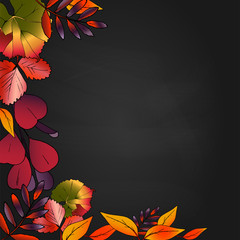 It is wreath of autum leaves on black background. frame with bright leaves for design. clipart for background, postcard, sale, post. Red, yellow, orange, purple leaves. Bright vector illustration