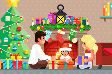 Happy family front of the fireplace opens gifts room christmas tree flat design vector illustration