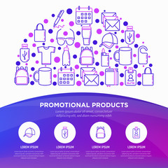 Promotional products concept in half circle with thin line icons: notebook, tote bag, sunglasses, t-shirt, water bottle, pen, backpack, cup, hat, travel mug. Vector illustration, print media template.