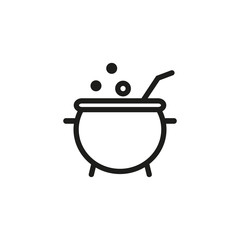 Cooking potion in cauldron line icon. Brewing, boiling, hot. Halloween concept. Vector illustration can be used for topics like magic, caldron, mystery, poison
