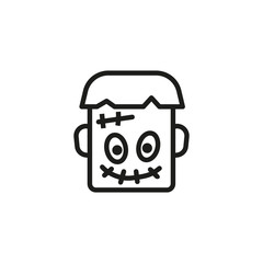 Ugly Frankenstein line icon. Head, scary, scar. Character concept. Vector illustration can be used for topics like Halloween, cartoon, night party