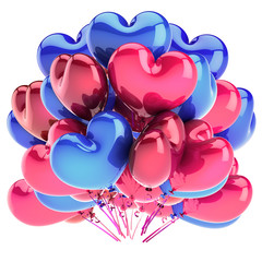 hearts balloon bunch heart shaped pink red blue. birthday, wedding, honeymoon, marriage decoration. Valentine's Day party romantic LOVE celebration symbol. 3d rendering