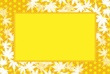 背景素材,写真枠,ピクチャーフレーム,秋のイメージ,椛の葉,和風,タイトルスペース,落葉,枯葉,紅葉