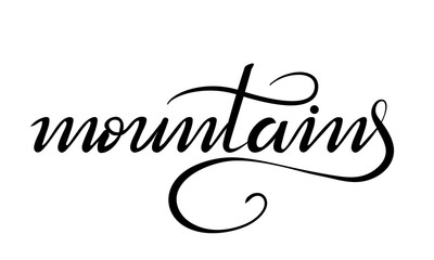 lettering mountains on white