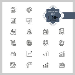 Diagram icons. Set of line icons. Financial growth, presentation, report. Business concept. Vector illustration can be used for topics like analysis, finance, accounting.