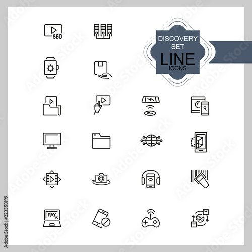Discovery icons  Set of line icons  Video content, data