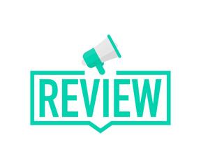 Hand holding megaphone - Review. Vector illustration.