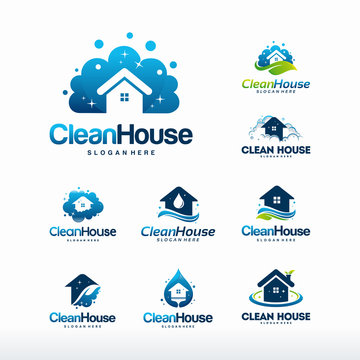 Collection of Clean House logo designs concept, Set of Cleaning Service logo symbol