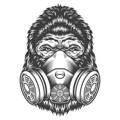 Vintage monochrome gorilla head