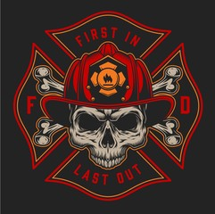Vintage firefighting colorful logotype