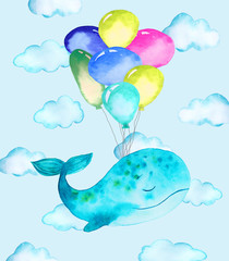 illustration of whale and balloons