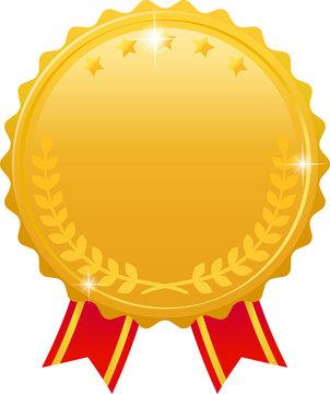 月桂樹の輝く金色のメダル