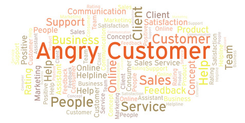 Angry Customer word cloud.