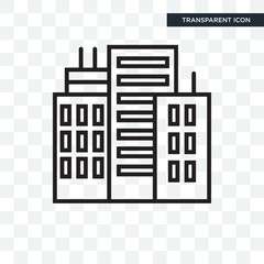Building vector icon isolated on transparent background, Building logo design
