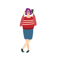 Smiling woman taking selfie with smartphone. Mobile phone user, peace gesture, posing. Photography concept. Vector illustration can be used for picturing, photo, self portrait