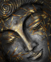 Buddha watercolor silver and gold