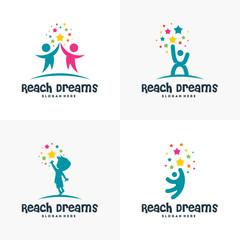 Set of Reaching Star logo, , Online Learning logo designs vector, Kids Dream logo, Reach Dreams logo