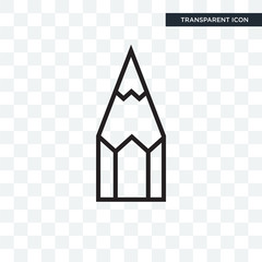 Pencil vector icon isolated on transparent background, Pencil logo design