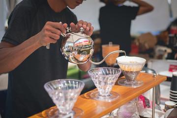 barista making drift hot coffee