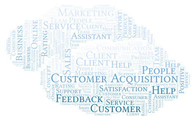 Customer Acquisition word cloud.