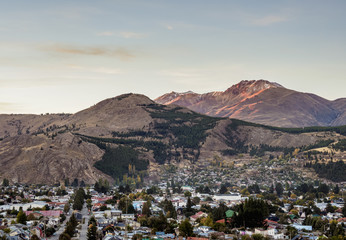 Esquel at sunrise, elevated view, Chubut Province, Patagonia, Argentina