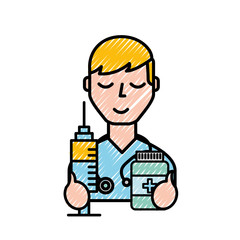 doctor professional character with syringe and bottle pills