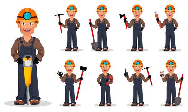 Miner man, mining worker. Cartoon character