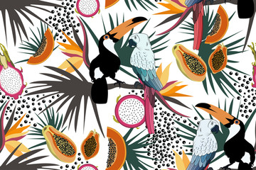 Tropical seamless pattern with cute toucans,parrots,flowers,papayas,dragon fruit and leafs.Vector summer exotic background.Textile texture