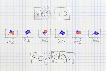 british and american flags symbol of studying english as foreign language on school desks with Back to School text on books
