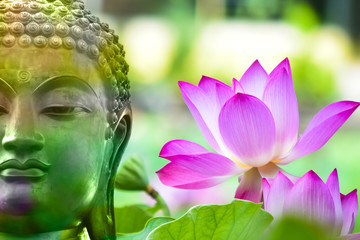 Buddha statue from Thailand.on nature  background,symbol of religion buddhism.design with copy space add text