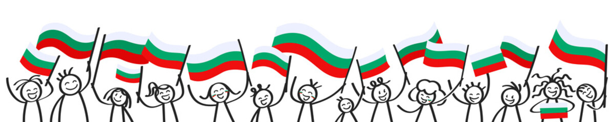 Cheering crowd of happy stick figures with Bulgarian national flags, smiling Bulgaria supporters, sports fans isolated on white background