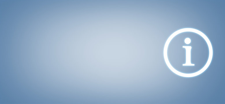 Information Symbol on blue background. Business concept