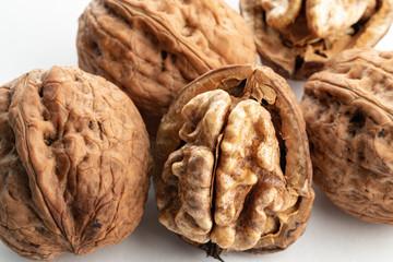 large walnuts on white background