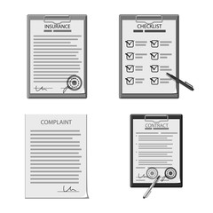 Vector design of form and document sign. Collection of form and mark stock symbol for web.
