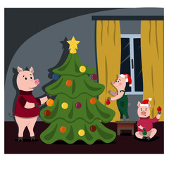 A family of funny piglets decorate a Christmas tree