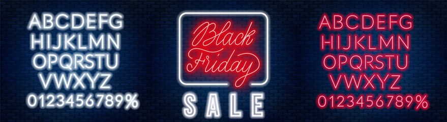 Fototapete - Black Friday neon lettering on brick wall background with the alphabet