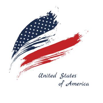 Grunge brush stroke watercolor of American flag, Vector illustration.