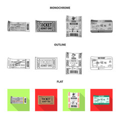Vector design of ticket and admission icon. Set of ticket and event stock symbol for web.