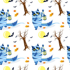 Cat seamless Pattern Halloween isolated wallpaper background cartoon.