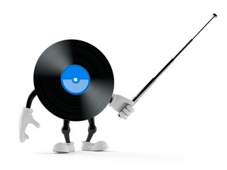 Vinyl character aiming with pointer stick