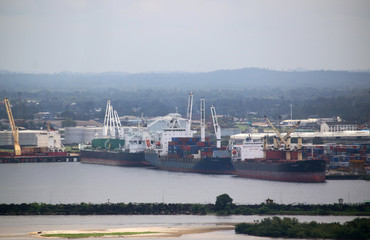 Ships and containers are pictured at the Freeport of Monrovia