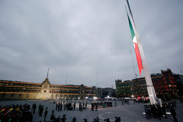 A general view shows a flag-raising ceremony honouring the victims of the September 1985 and 2017 earthquakes at Zocalo square in Mexico City