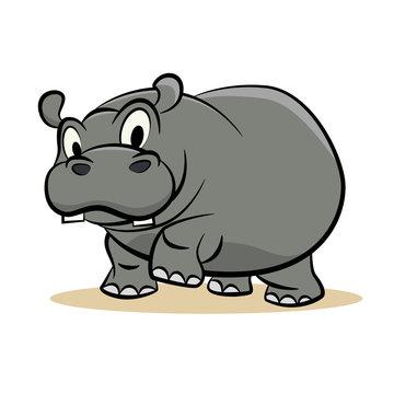 Cute grey hippo vector illustration