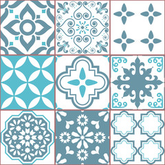 Tile vector seamless Azlejos pattern, Spanish or Portuguese mosaic in turquoise and gray, abstract and floral designs