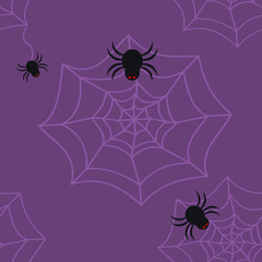Seamless pattern of black spider with red eyes and purple spider web on violet background. Flat design vector, square shape. Use as background, wallpaper or print as wrapping paper, fabric, tile, etc.