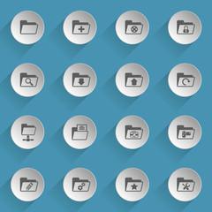 folder web icons on light paper circles