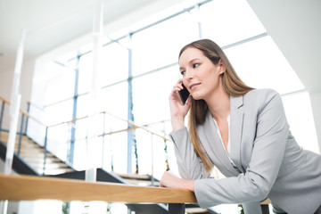 Junge Geschäftsfrau führt ein Business Telefonat
